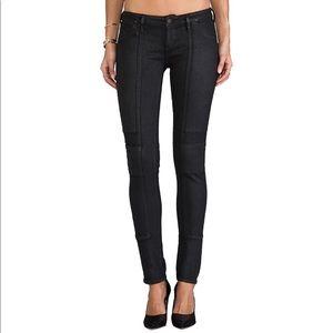COH Logan Low Rise Coated Moto Black Skinny Jeans